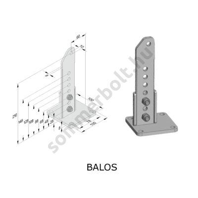 """Sommer oszlop oldali """"B"""" méret növelő vasalat - BALOS, emelkedő kapuszárnyhoz"""